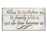 bless the food before us wood wall sign