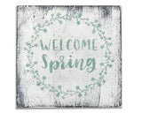 welcome spring wood wall sign