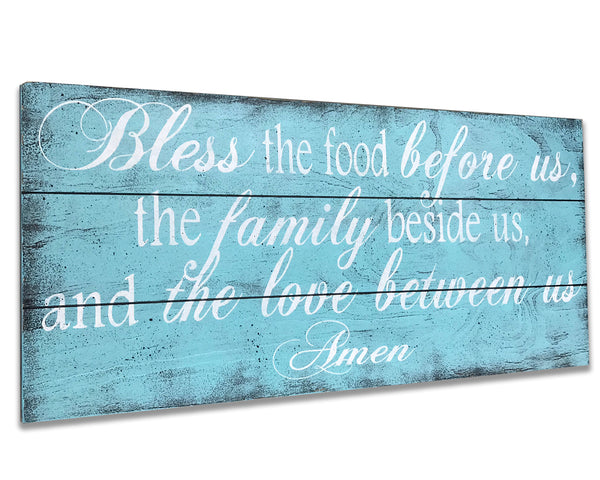 bless the food before us wood wall sign dining kitchen