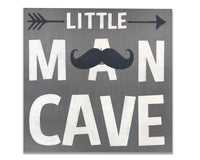 Little Man Cave with Moustache non-distressed nursery wall decor