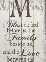 Bless The Food Before Us Personalized Dining Room Wall Decor