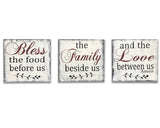 bless the food before us wood wall sign 3 pc set dining room wall art