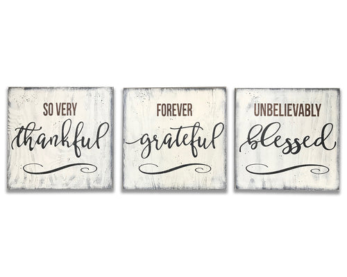 So Very Thankful Grateful Blessed Wood Sign Set