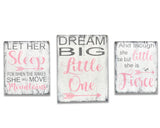 Let Her Sleep Dream Big Little One And Though She Be But Little Wood Sign Set