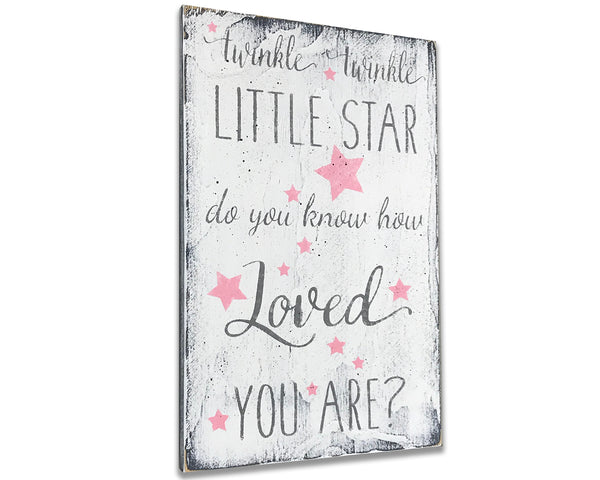 Twinkle Twinkle Little Star Girls Nursery Wall Sign