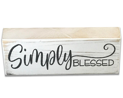 Simply Blessed Wood Box Sign