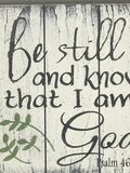 be still and know that i am God wooden wall Christian sign