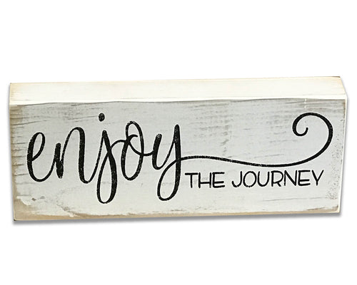 wood sign block enjoy the journey farmhouse decor