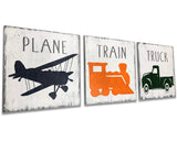 plane train truck 3 pc. wood wall sign