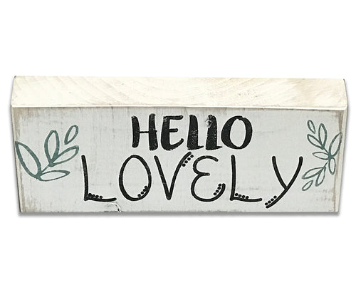 Hello Lovely Wood Box Sign
