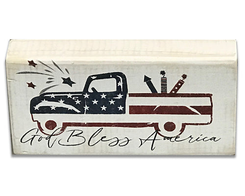4th of July decor vintage truck wood sign