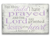 For This Child I Have Prayed Christian Girl Nursery Sign