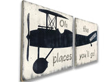 Oh The Places You'll Go Personalized Vintage Airplane Wall Sign Set
