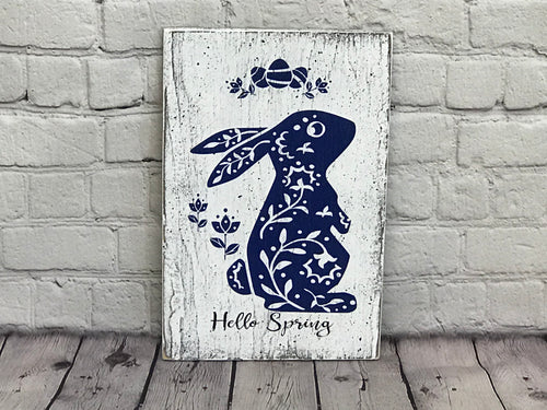 Hello Spring Onni Bunny Wood Sign