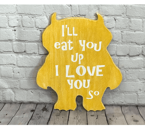 I'll Eat You Up Monster Yellow Wood Nursery Decor