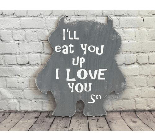 I'll Eat You Up Monster Gray Nursery Wall Decor