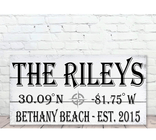 Personalized Name Sign with Beach Coordinates