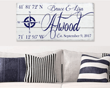 Personalized Name Sign with Coordinates Rose Compass