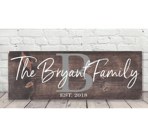Personalized Family Name Sign with Initial