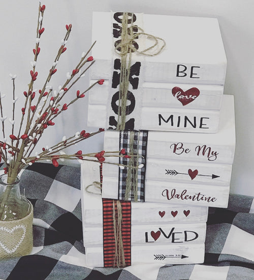 Valentines Day Decor Wood Books