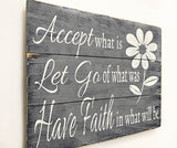 Accept What Is Christian Wall Art with floral design Christian gifts