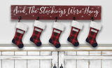 wooden stocking holder with hooks