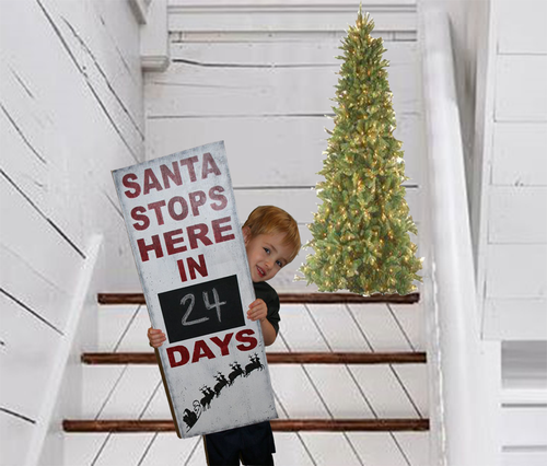 Santa Stops Here Wood Sign Christmas Countdown