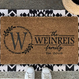 coir rug personalized family name