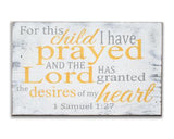 For This Child I Have Prayed Christian nursery wood wall sign