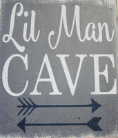 Lil Man Cave Wood Sign Boys Nursery Decor
