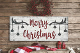 Merry Christmas Wood Sign Woodlands Above Mantel Decoration