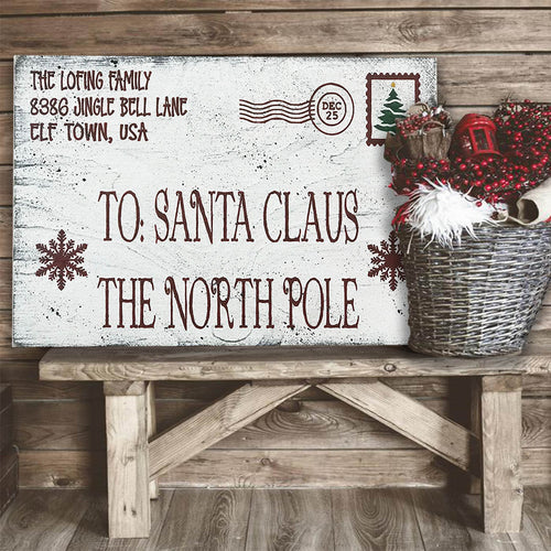 Santa North Pole Wood Postcard Christmas Decor