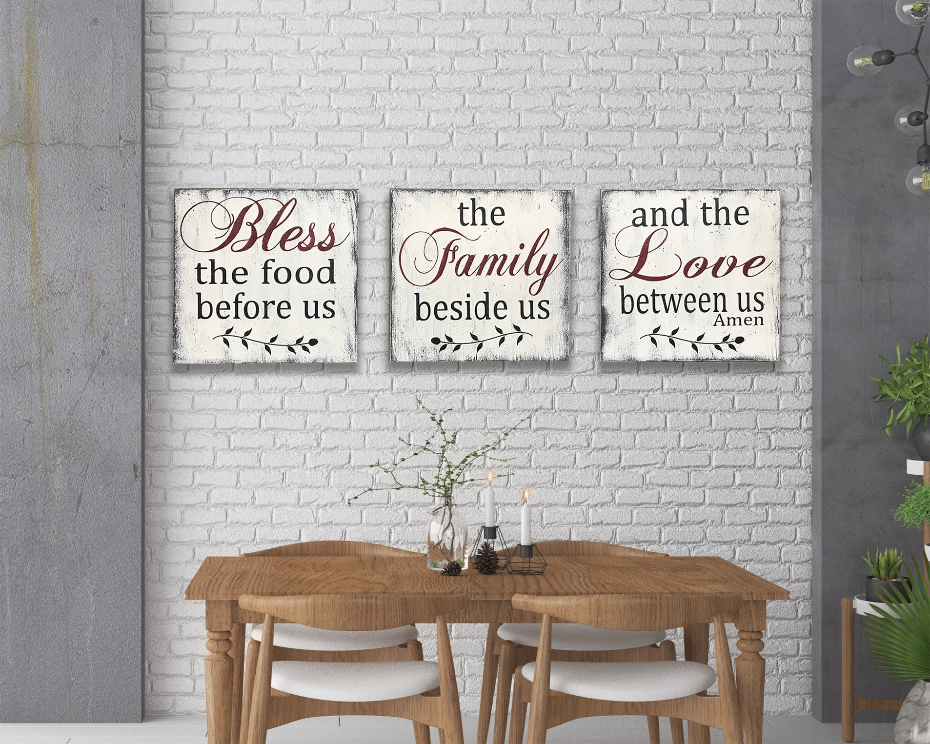 Bless The Food Before Us Wood Sign Set Kitchen Wall Decor