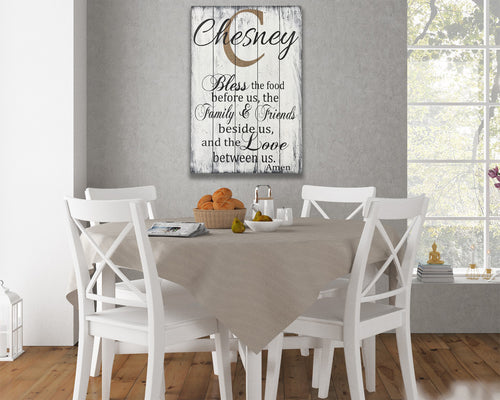 Bless The Food Before Us Personalized Wood Sign Dining Decor