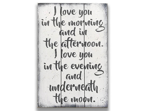 I Love You In The Morning Wood Sign Nursery Wall Decor