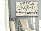 Welcome To Our Home Family Name Sign