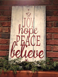 Joy Hope Peace Believe Wood Pallet Sign Christmas Decor