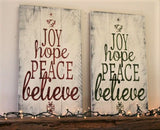 Joy Hope Peace Believe Wood Pallet Style Sign Christmas Decor