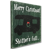 Christmas Decor Merry Christmas Shitters Full Wood Sign