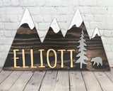 Mountain Cutout Personalized Kids Room Decor Natural