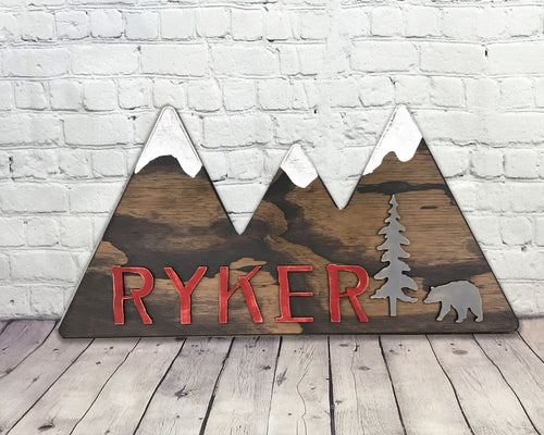 Mountain Cutout Personalized Kids Room Decor Red