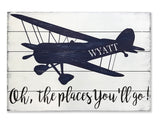 Oh The Places You'll Go Personalized Boys Vintage Airplane Wall Decor