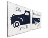Boys Nursery Decor Vintage Truck Wood Sign