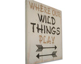 Kids Playroom Where Our Wild Things Play Wood Sign
