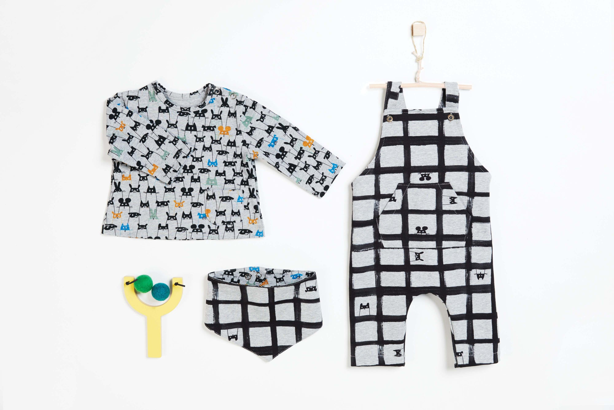 Dungarees, Long Sleeve T-Shirt & Bandana Pattern