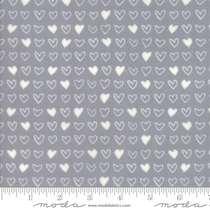 Soft & Sweet Flannel - Hearts Grey