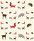 Bramble - Forest Animals Intermix Panel Red