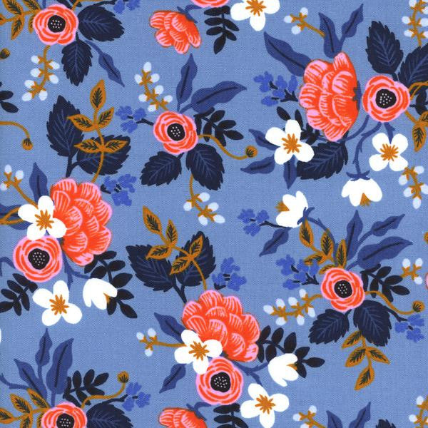 Les Fleurs - Birch - Periwinkle - Thread Count Fabrics - Cotton + Steel