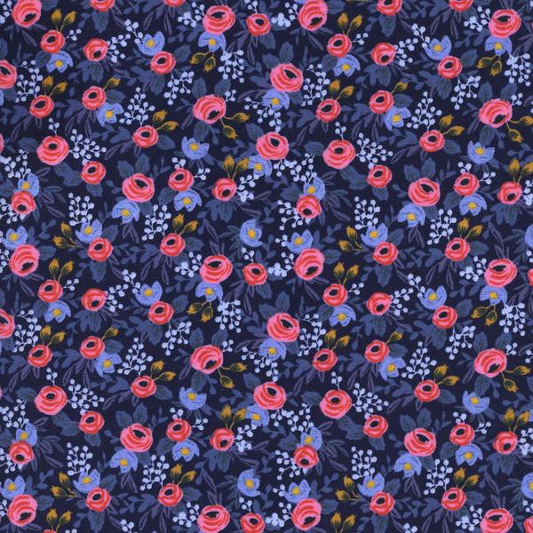 Les Fleurs - Rosa - Navy - Thread Count Fabrics - Cotton + Steel