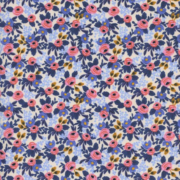 Les Fleurs - Rosa - Periwinkle - Thread Count Fabrics - Cotton + Steel